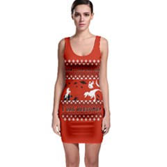 I Wasn t Good This Year, I Was Awesome! Ugly Holiday Christmas Red Background Sleeveless Bodycon Dress
