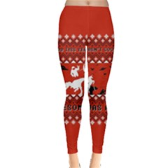 I Wasn t Good This Year, I Was Awesome! Ugly Holiday Christmas Red Background Leggings