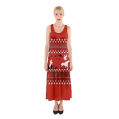 I Wasn t Good This Year, I Was Awesome! Ugly Holiday Christmas Red Background Sleeveless Maxi Dress