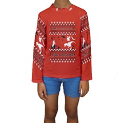 I Wasn t Good This Year, I Was Awesome! Ugly Holiday Christmas Red Background Kids  Long Sleeve Swimwear