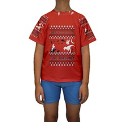 I Wasn t Good This Year, I Was Awesome! Ugly Holiday Christmas Red Background Kids  Short Sleeve Swimwear