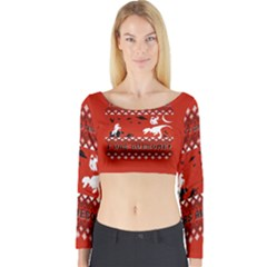 I Wasn t Good This Year, I Was Awesome! Ugly Holiday Christmas Red Background Long Sleeve Crop Top