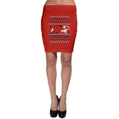 I Wasn t Good This Year, I Was Awesome! Ugly Holiday Christmas Red Background Bodycon Skirt