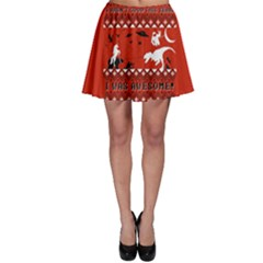 I Wasn t Good This Year, I Was Awesome! Ugly Holiday Christmas Red Background Skater Skirt