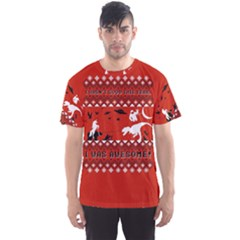 I Wasn t Good This Year, I Was Awesome! Ugly Holiday Christmas Red Background Men s Sport Mesh Tee