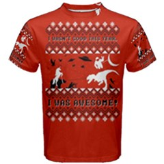 I Wasn t Good This Year, I Was Awesome! Ugly Holiday Christmas Red Background Men s Cotton Tee