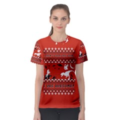 I Wasn t Good This Year, I Was Awesome! Ugly Holiday Christmas Red Background Women s Sport Mesh Tee