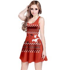 I Wasn t Good This Year, I Was Awesome! Ugly Holiday Christmas Red Background Reversible Sleeveless Dress