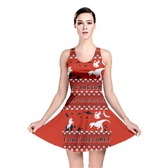 I Wasn t Good This Year, I Was Awesome! Ugly Holiday Christmas Red Background Reversible Skater Dress