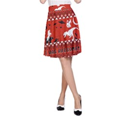 I Wasn t Good This Year, I Was Awesome! Ugly Holiday Christmas Red Background A-Line Skirt