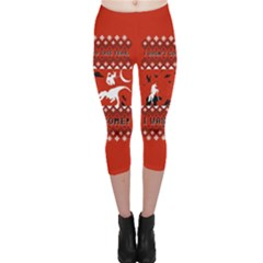 I Wasn t Good This Year, I Was Awesome! Ugly Holiday Christmas Red Background Capri Leggings
