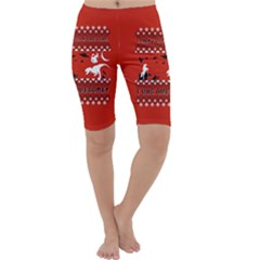 I Wasn t Good This Year, I Was Awesome! Ugly Holiday Christmas Red Background Cropped Leggings