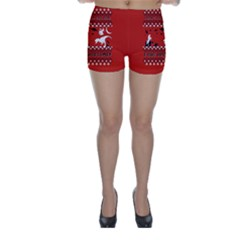I Wasn t Good This Year, I Was Awesome! Ugly Holiday Christmas Red Background Skinny Shorts