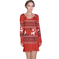 I Wasn t Good This Year, I Was Awesome! Ugly Holiday Christmas Red Background Long Sleeve Nightdress