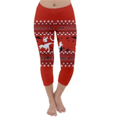 I Wasn t Good This Year, I Was Awesome! Ugly Holiday Christmas Red Background Capri Winter Leggings