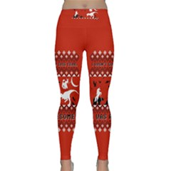 I Wasn t Good This Year, I Was Awesome! Ugly Holiday Christmas Red Background Classic Yoga Leggings