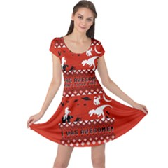 I Wasn t Good This Year, I Was Awesome! Ugly Holiday Christmas Red Background Cap Sleeve Dresses