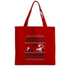 I Wasn t Good This Year, I Was Awesome! Ugly Holiday Christmas Red Background Zipper Grocery Tote Bag