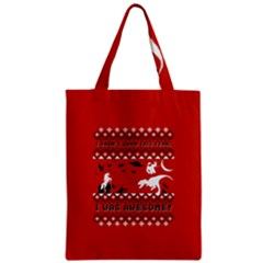 I Wasn t Good This Year, I Was Awesome! Ugly Holiday Christmas Red Background Zipper Classic Tote Bag