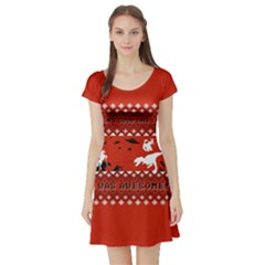 I Wasn t Good This Year, I Was Awesome! Ugly Holiday Christmas Red Background Short Sleeve Skater Dress