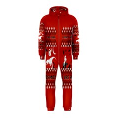 I Wasn t Good This Year, I Was Awesome! Ugly Holiday Christmas Red Background Hooded Jumpsuit (Kids)