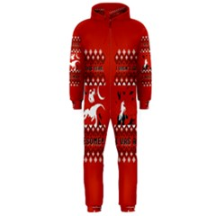 I Wasn t Good This Year, I Was Awesome! Ugly Holiday Christmas Red Background Hooded Jumpsuit (Men)