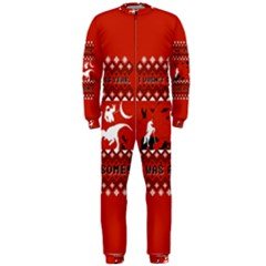 I Wasn t Good This Year, I Was Awesome! Ugly Holiday Christmas Red Background OnePiece Jumpsuit (Men)