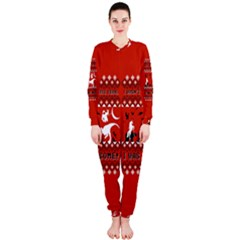 I Wasn t Good This Year, I Was Awesome! Ugly Holiday Christmas Red Background OnePiece Jumpsuit (Ladies)
