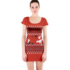 I Wasn t Good This Year, I Was Awesome! Ugly Holiday Christmas Red Background Short Sleeve Bodycon Dress