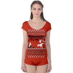 I Wasn t Good This Year, I Was Awesome! Ugly Holiday Christmas Red Background Boyleg Leotard