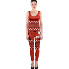 I Wasn t Good This Year, I Was Awesome! Ugly Holiday Christmas Red Background Onepiece Catsuit