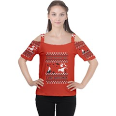 I Wasn t Good This Year, I Was Awesome! Ugly Holiday Christmas Red Background Women s Cutout Shoulder Tee