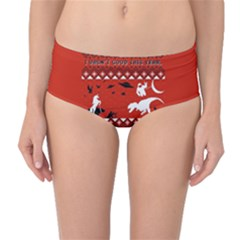 I Wasn t Good This Year, I Was Awesome! Ugly Holiday Christmas Red Background Mid-Waist Bikini Bottoms