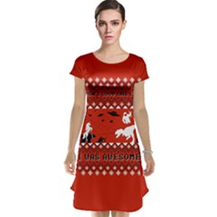 I Wasn t Good This Year, I Was Awesome! Ugly Holiday Christmas Red Background Cap Sleeve Nightdress