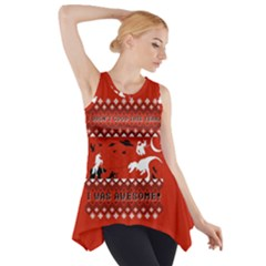 I Wasn t Good This Year, I Was Awesome! Ugly Holiday Christmas Red Background Side Drop Tank Tunic