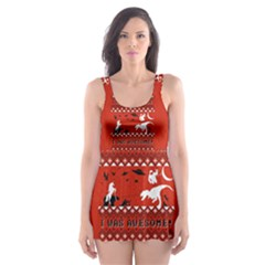 I Wasn t Good This Year, I Was Awesome! Ugly Holiday Christmas Red Background Skater Dress Swimsuit