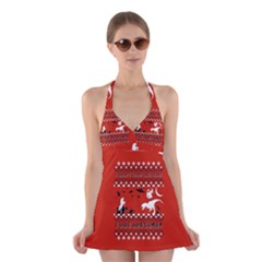 I Wasn t Good This Year, I Was Awesome! Ugly Holiday Christmas Red Background Halter Swimsuit Dress