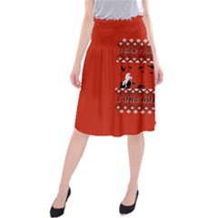 I Wasn t Good This Year, I Was Awesome! Ugly Holiday Christmas Red Background Midi Beach Skirt