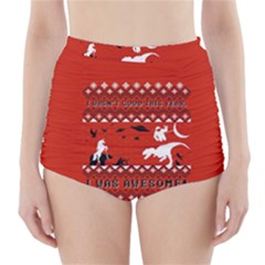 I Wasn t Good This Year, I Was Awesome! Ugly Holiday Christmas Red Background High-Waisted Bikini Bottoms
