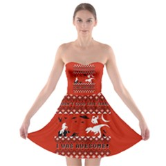 I Wasn t Good This Year, I Was Awesome! Ugly Holiday Christmas Red Background Strapless Bra Top Dress