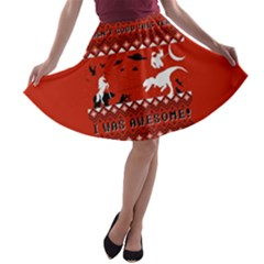 I Wasn t Good This Year, I Was Awesome! Ugly Holiday Christmas Red Background A-line Skater Skirt