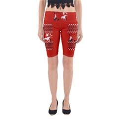 I Wasn t Good This Year, I Was Awesome! Ugly Holiday Christmas Red Background Yoga Cropped Leggings