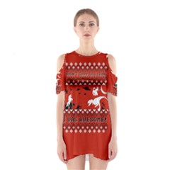 I Wasn t Good This Year, I Was Awesome! Ugly Holiday Christmas Red Background Cutout Shoulder Dress