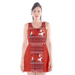 I Wasn t Good This Year, I Was Awesome! Ugly Holiday Christmas Red Background Scoop Neck Skater Dress