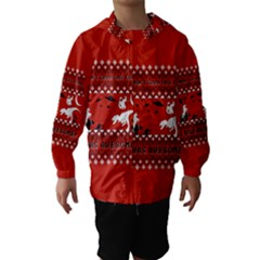 I Wasn t Good This Year, I Was Awesome! Ugly Holiday Christmas Red Background Hooded Wind Breaker (Kids)