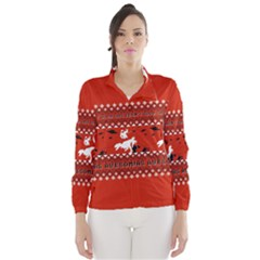 I Wasn t Good This Year, I Was Awesome! Ugly Holiday Christmas Red Background Wind Breaker (Women)