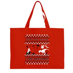 I Wasn t Good This Year, I Was Awesome! Ugly Holiday Christmas Red Background Large Tote Bag
