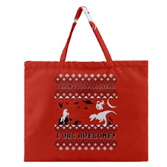 I Wasn t Good This Year, I Was Awesome! Ugly Holiday Christmas Red Background Zipper Large Tote Bag
