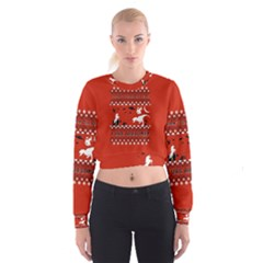 I Wasn t Good This Year, I Was Awesome! Ugly Holiday Christmas Red Background Women s Cropped Sweatshirt
