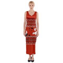 I Wasn t Good This Year, I Was Awesome! Ugly Holiday Christmas Red Background Fitted Maxi Dress